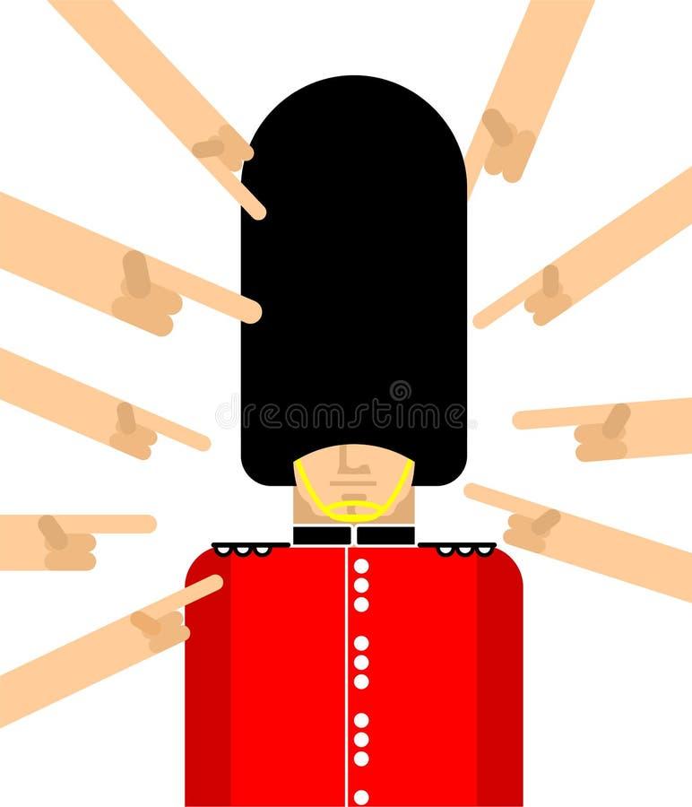 M?nga h?nder som pekar med deras brittiska gardist f?r finger Ober?rda London g?r till drottning hatten f?r bj?rnen f?r vaktIn p? stock illustrationer