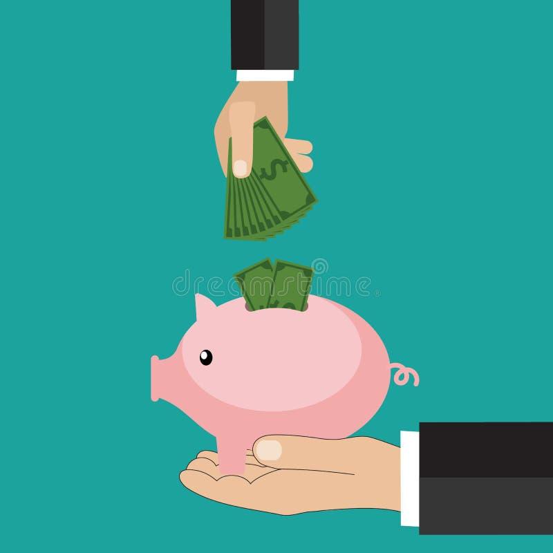 Många händer som sätter myntet och pengar in i en spargris Spara och investera pengarbegrepp Plan stil royaltyfri illustrationer