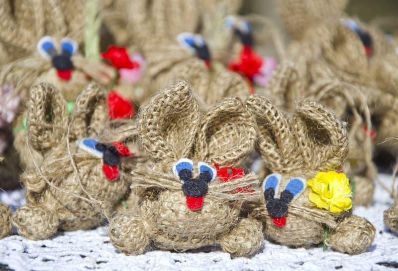 Marknadsför handgjorda mouses för rolig torkduk in arkivbild