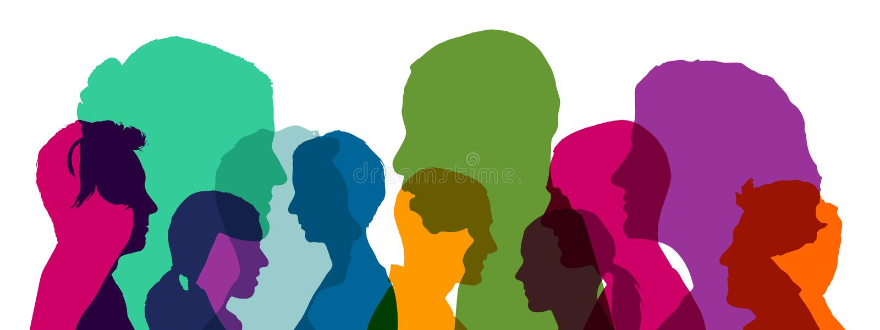 Många huvud som ett lag i olika ljusa färger royaltyfri illustrationer