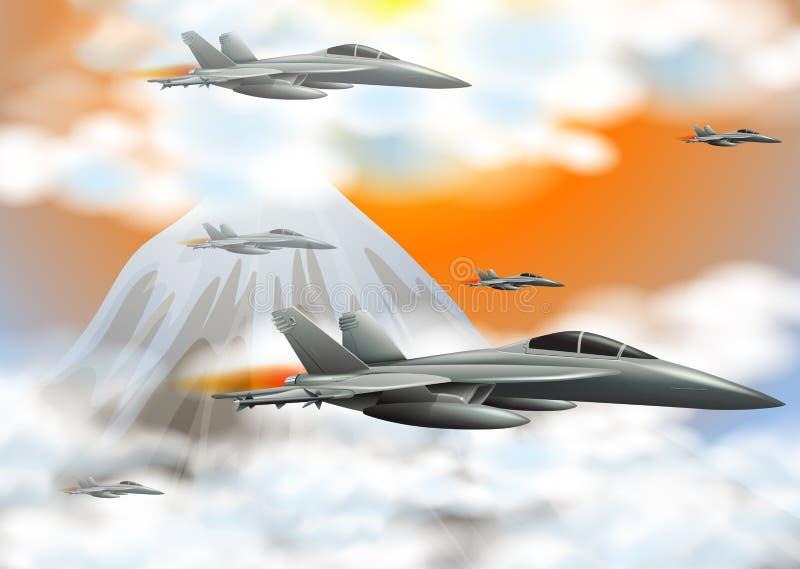 Många jetar som flyger i himlen vektor illustrationer
