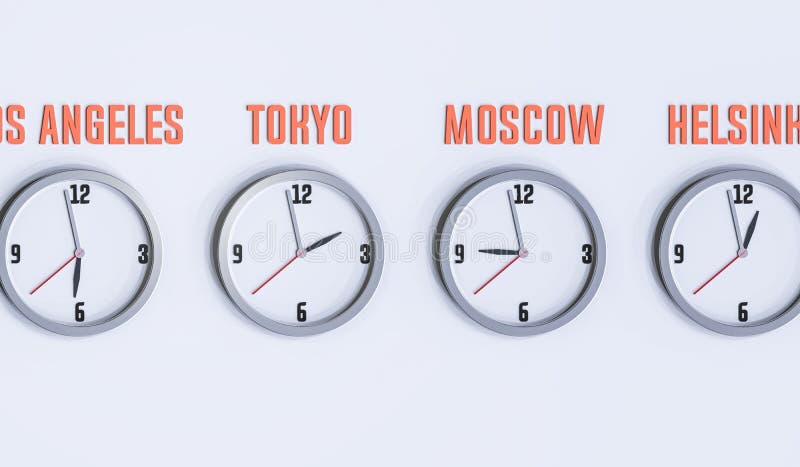 Många klockor på den vita illustrationen för vägg 3d royaltyfri fotografi