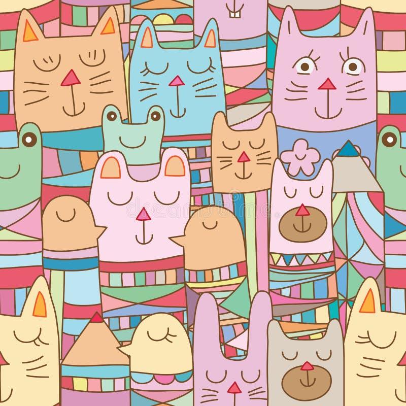 Många Kokeshi djur sömlös modell royaltyfri illustrationer
