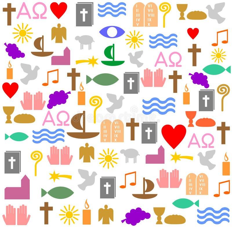 Många kristna symboler i en fyrkantig ram vektor illustrationer