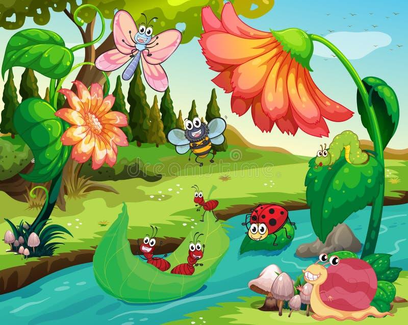 Många kryp som bor vid floden stock illustrationer