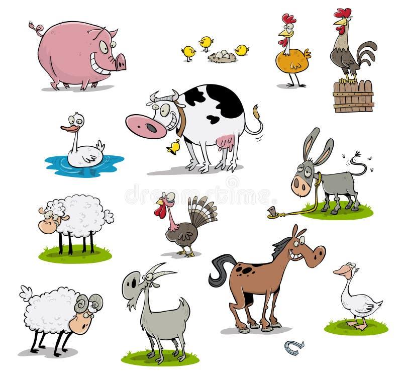 Många lantgårddjur royaltyfri illustrationer