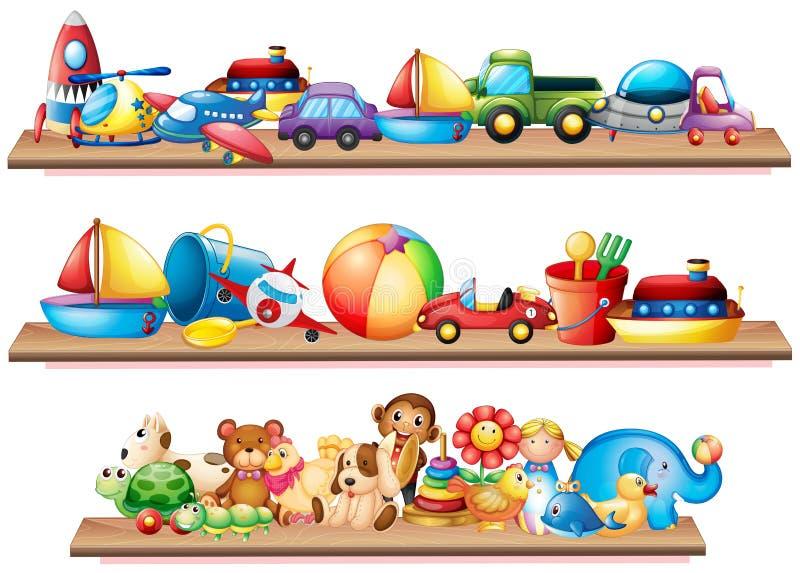 Download Många Leksaker På Trähyllor Vektor Illustrationer - Illustration av teckning, grupp: 78731001
