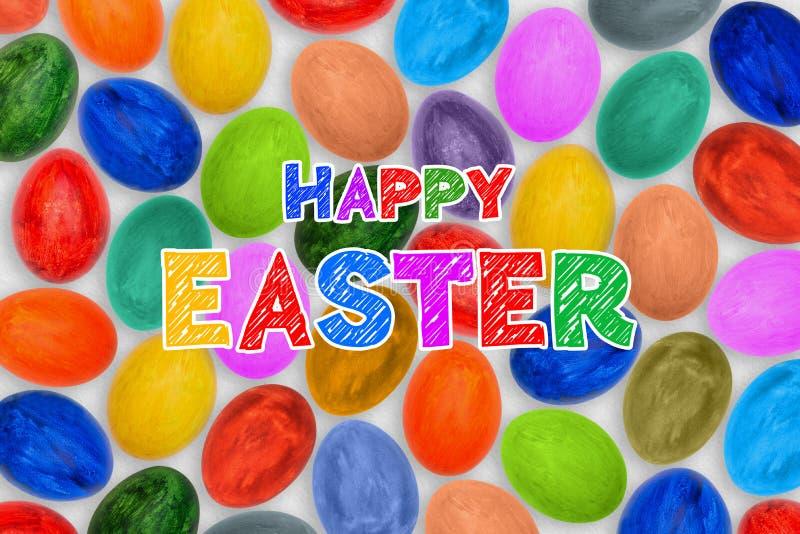 Många mång--färgade ägg på en vit bakgrund Guld- ägg över grön lutningbakgrund Festlig bakgrund med lycklig påsk för text royaltyfri foto