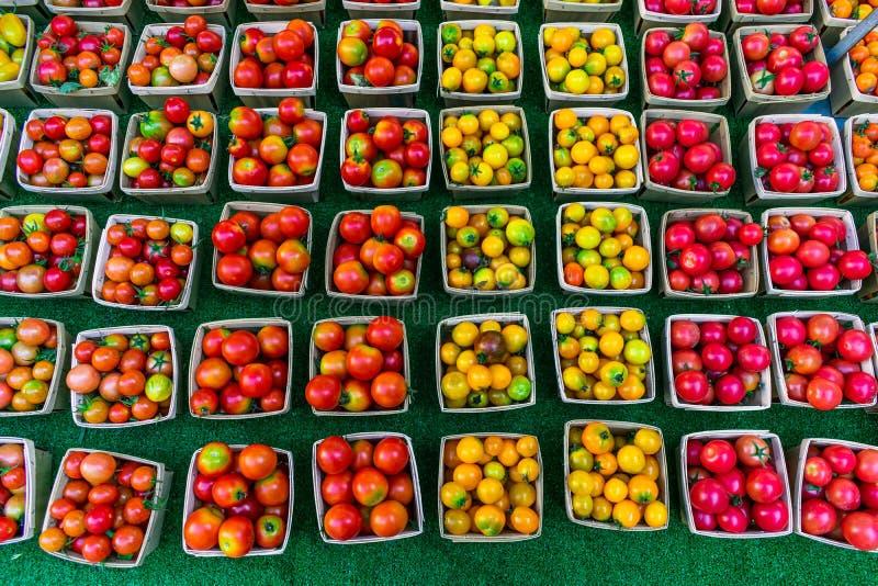 Många marknadsför färgrika Cherry Tomatoes som är till salu på bönder arkivfoton