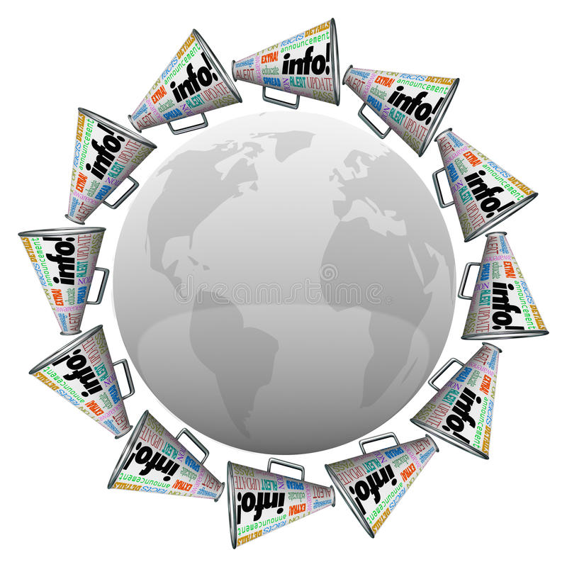 Många megafonmegafoner runt om global informationskommunikation om värld vektor illustrationer