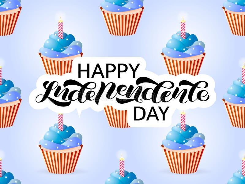 Många muffin i färger av en flagga av USA Lycklig sj?lvst?ndighetsdagenbokst?ver ocks? vektor f?r coreldrawillustration stock illustrationer