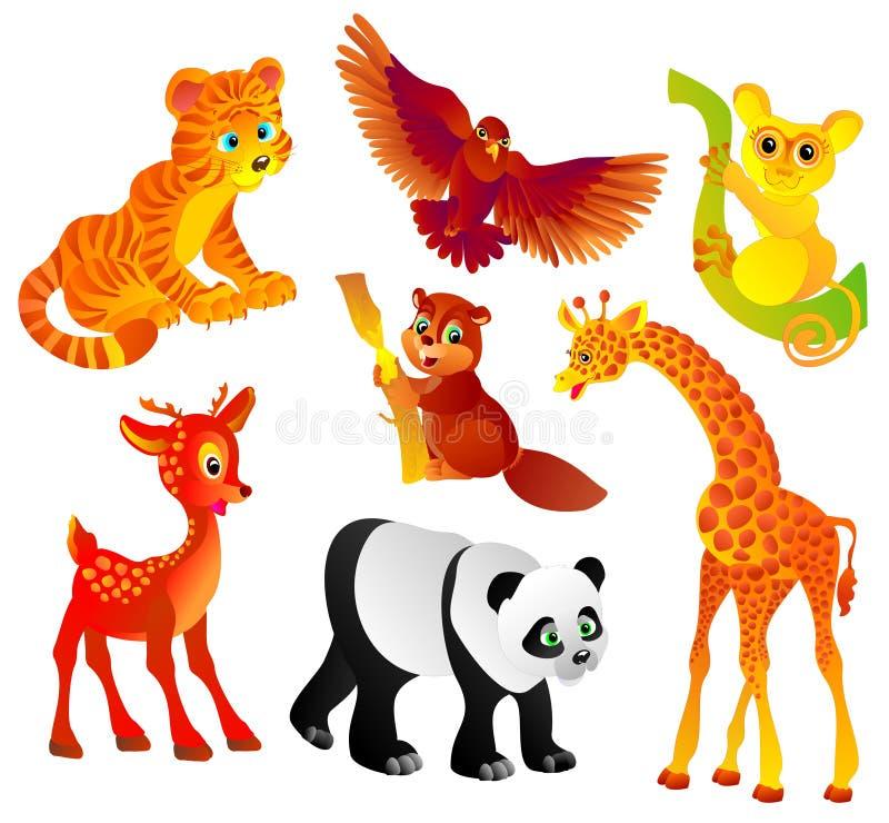 många olik illustration för djur wild vektor royaltyfri illustrationer