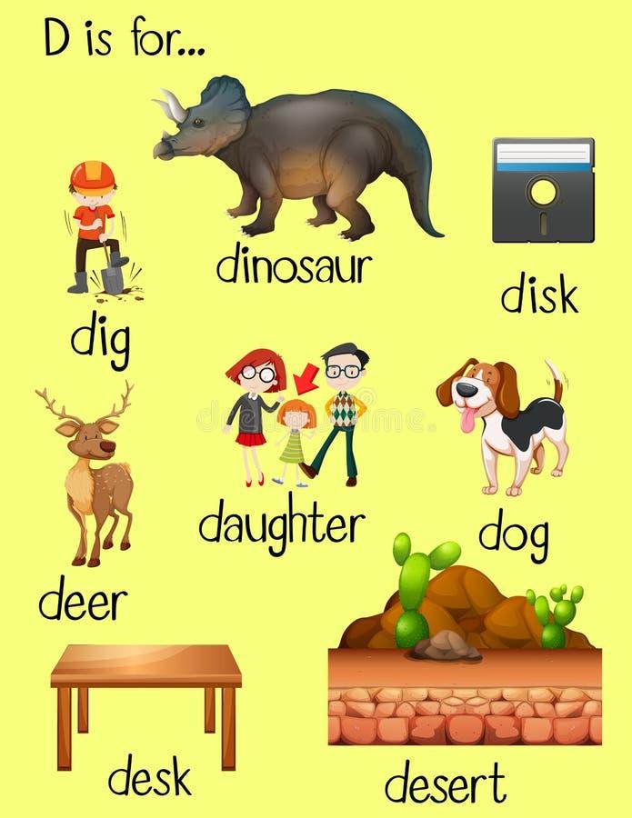 Många ord för bokstav D royaltyfri illustrationer