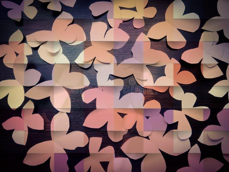 Många pappers- fjärilar med mörk träbakgrund royaltyfri foto