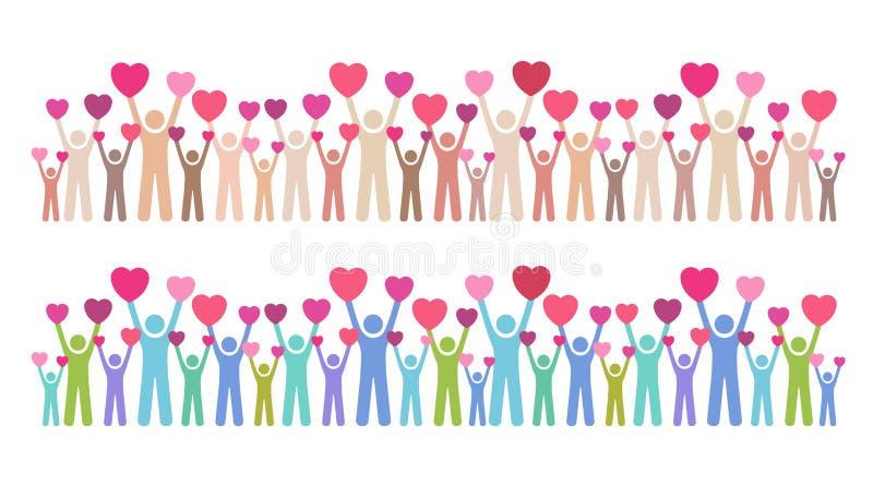 Många personer som ger deras förälskelse vektor illustrationer