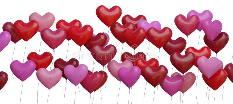 Många röd hjärta formade ballonger som isoleras på vit bakgrund framförd illustration 3d stock illustrationer