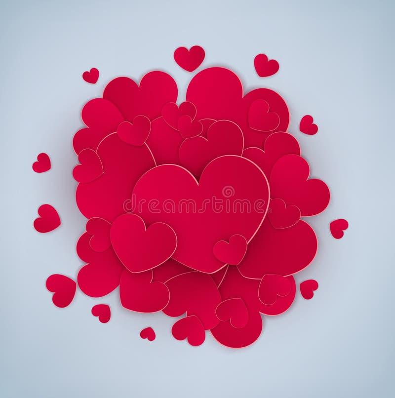 Många röda hjärtor med en stor hjärta i mitt vektor illustrationer