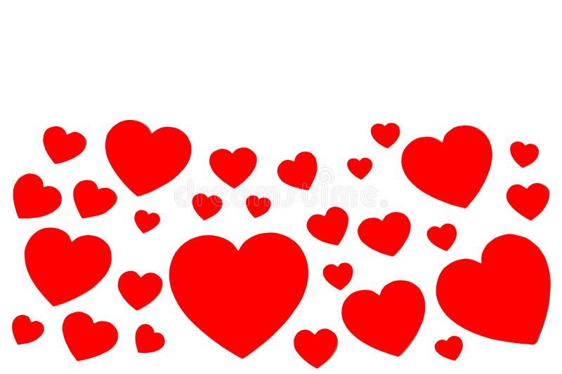Många röda pappers- hjärtor i form av den dekorativa ramen på vit bakgrund med kopieringsutrymme Symbol av den förälskelse- och f royaltyfri illustrationer
