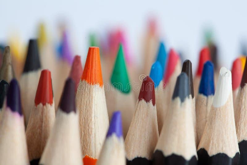 Många rader av kulöra blyertspennor arkivbild