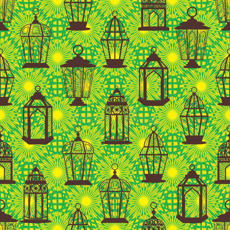 Många Ramadanlyktastag ljus sömlös modell vektor illustrationer