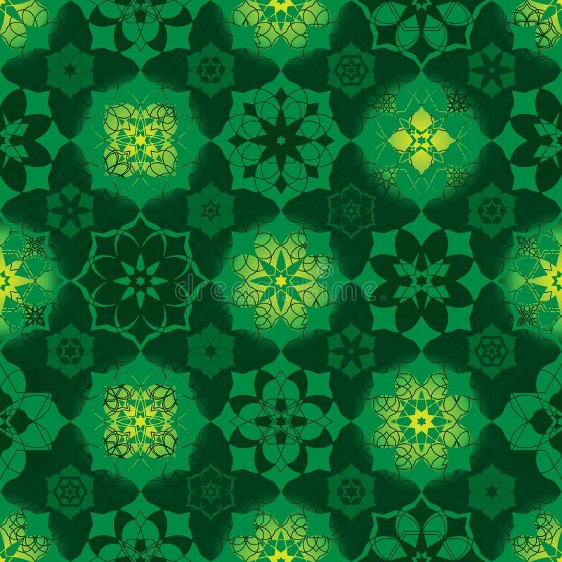Många Ramadanstjärna sömlös modell för symmetribirghtcirkel royaltyfri illustrationer