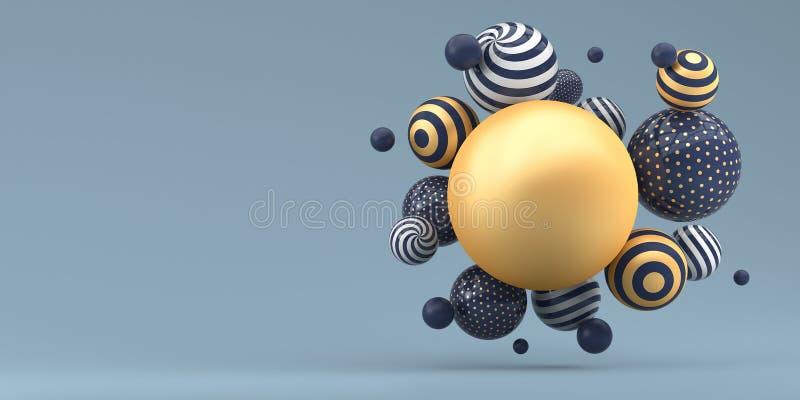 Många randiga bollar för flyga på en blå bakgrund illustrationen 3d framf?r royaltyfri illustrationer