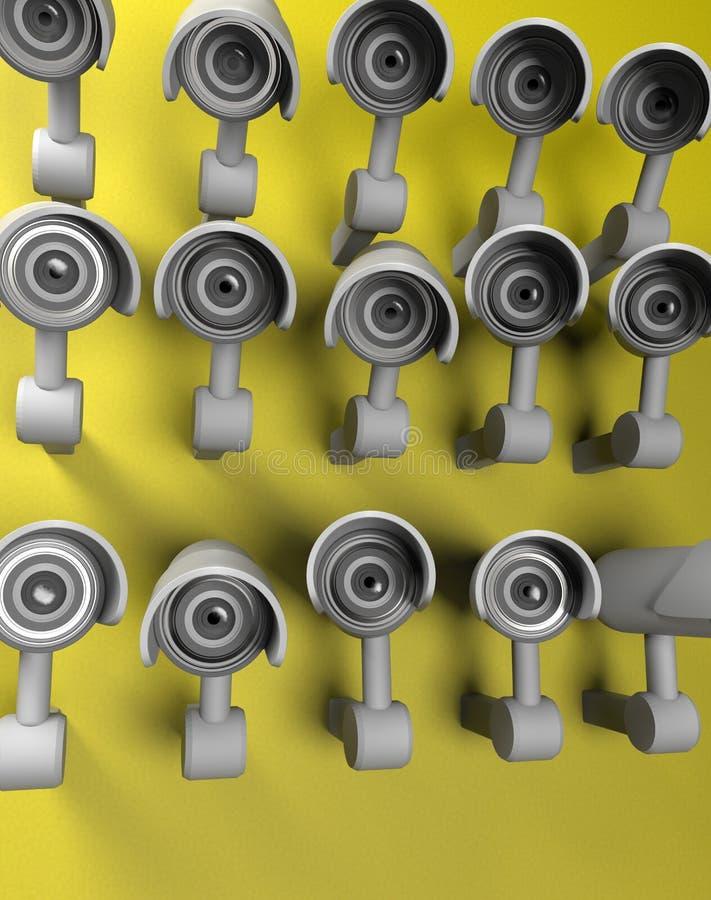 Många säkerhetskameror på staden, storebror som håller ögonen på dig BevakningCCTV-kamera framf?rande 3d stock illustrationer