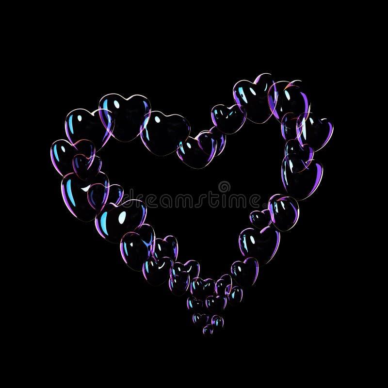 Många såpbubblor och hjärta formar royaltyfri illustrationer