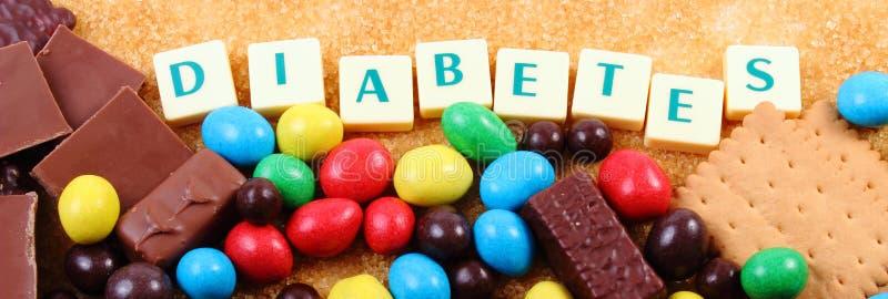 Många sötsaker, farin och ordsockersjuka, sjuklig mat royaltyfri fotografi