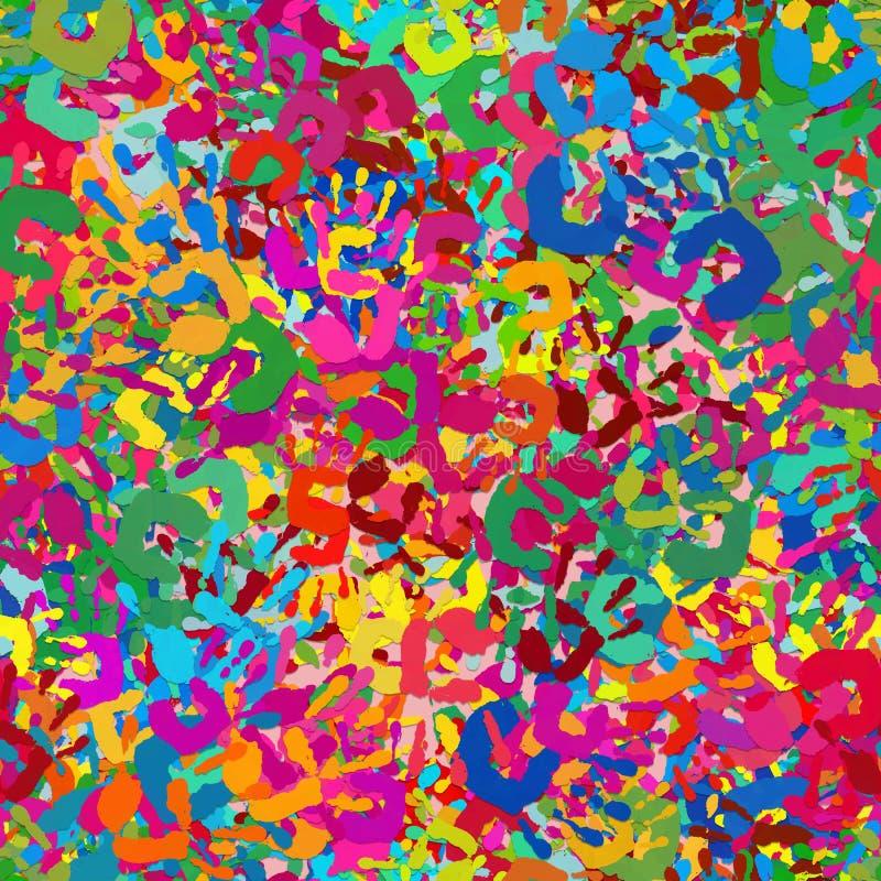 Många skrivar den färgrika handen ut sömlöst och tileable vektor illustrationer
