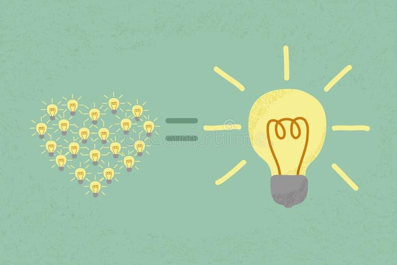 Många små idéer likställer en stor en idé royaltyfri illustrationer