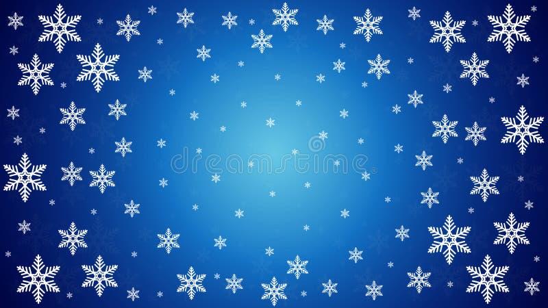 Många snöflingor på en blå bakgrund för vinter royaltyfri illustrationer