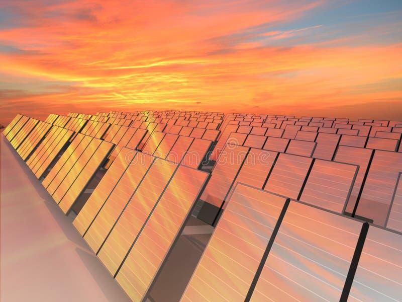 Många solpaneler som mottar energi med solen royaltyfri illustrationer