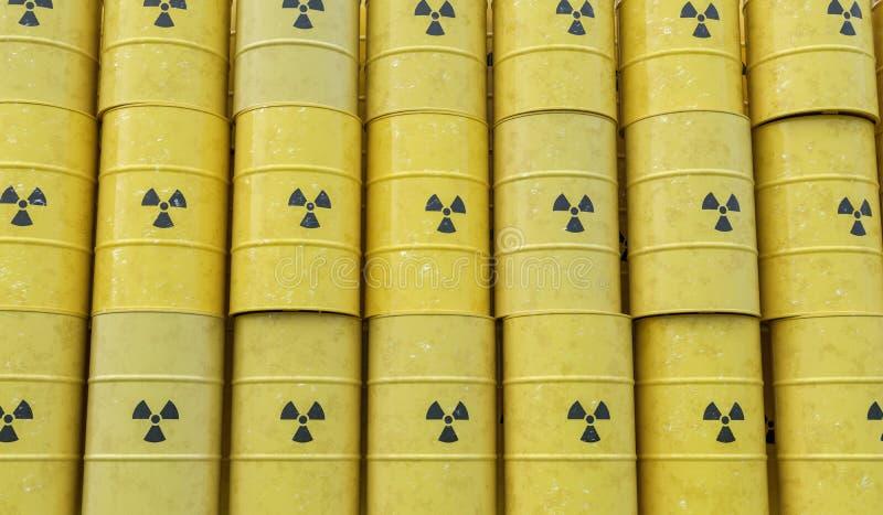 Många staplade trummor med radioaktiv avfalls framförd illustration 3d royaltyfri illustrationer