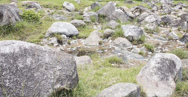 Många stenar från torra strömmar arkivfoton