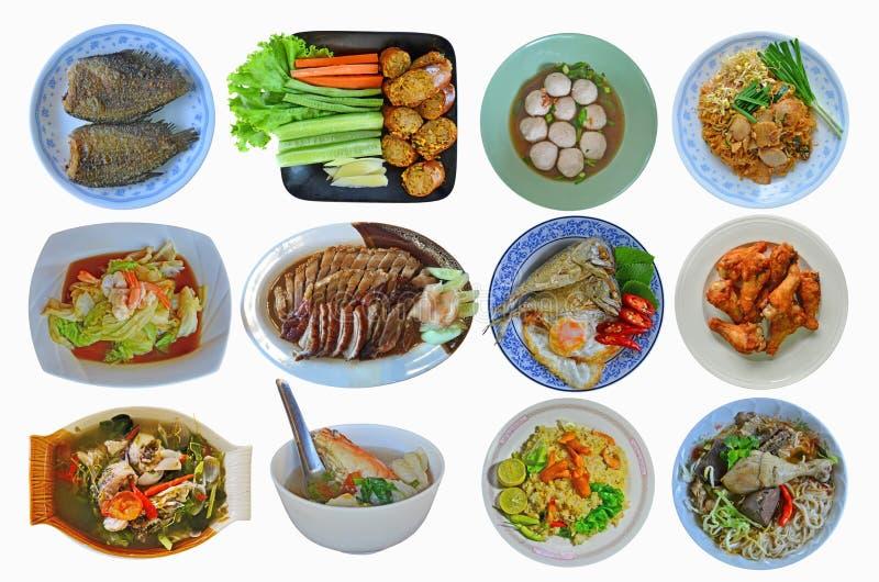 Många stilar av den asiatiska matsamlingen på vit bakgrund royaltyfri fotografi