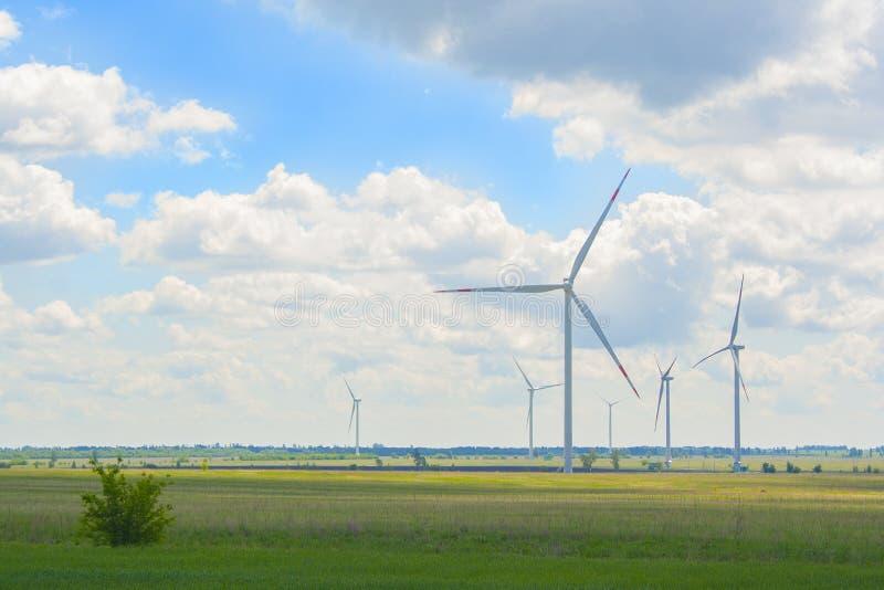 Många stora och höga väderkvarnar på den soliga dagen på det gröna fältet Generatorer för alternativ energi Windmills p? soluppg? royaltyfri foto