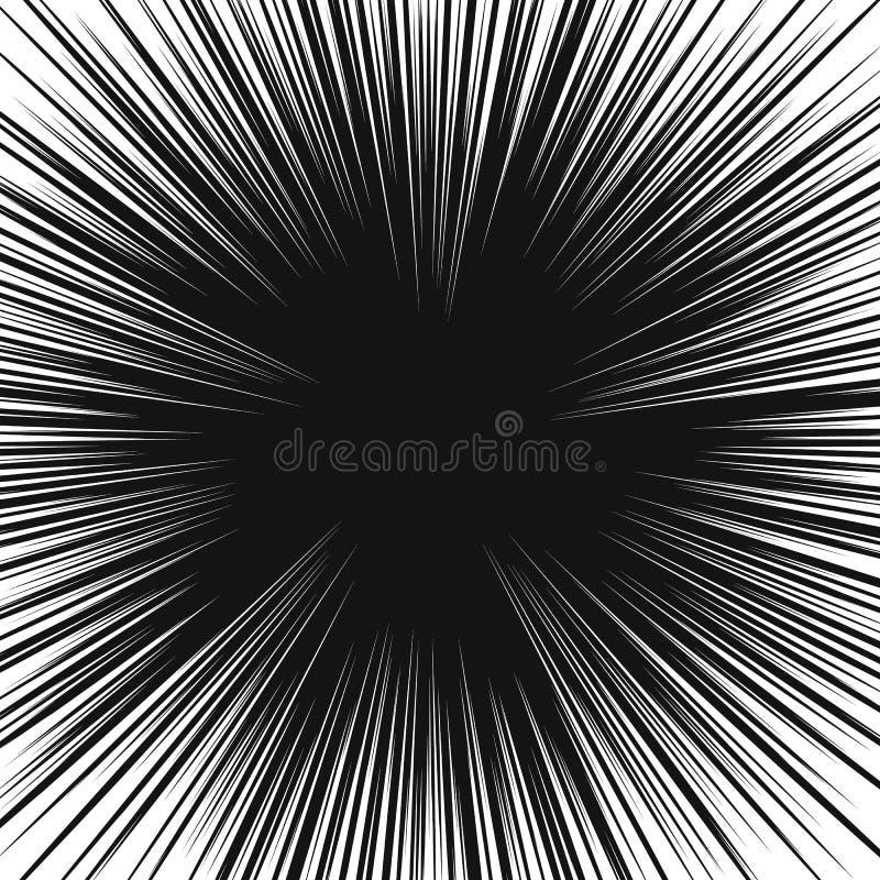 Många svärtar komiska radiella hastighetslinjer på den vita grunden Illustration för effektmaktexplosion Humorbokdesignbeståndsde vektor illustrationer