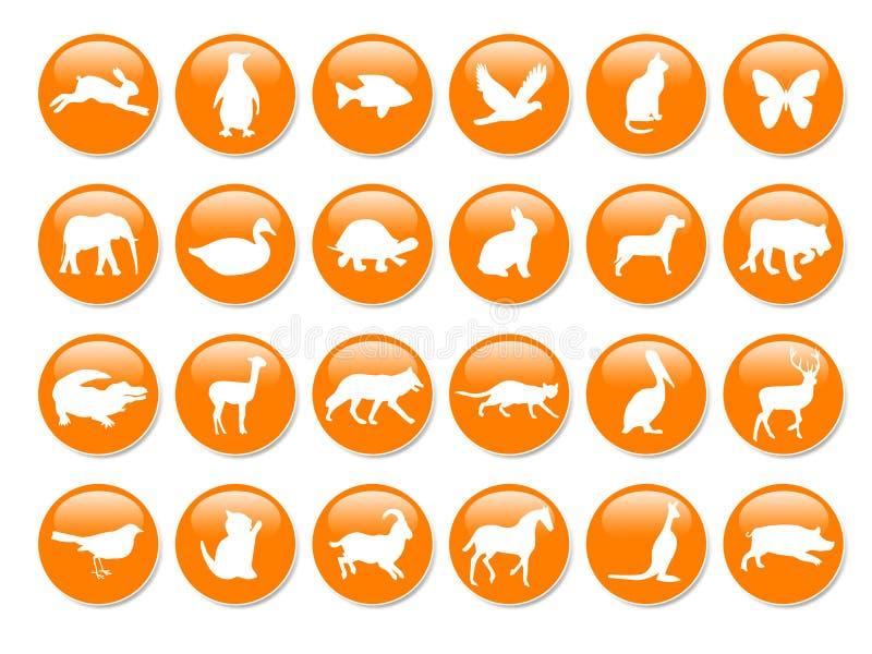 många symboler orange royaltyfri illustrationer