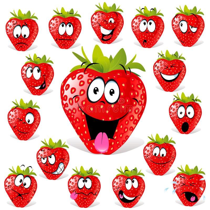många tecknad filmuttryck jordgubbe vektor illustrationer