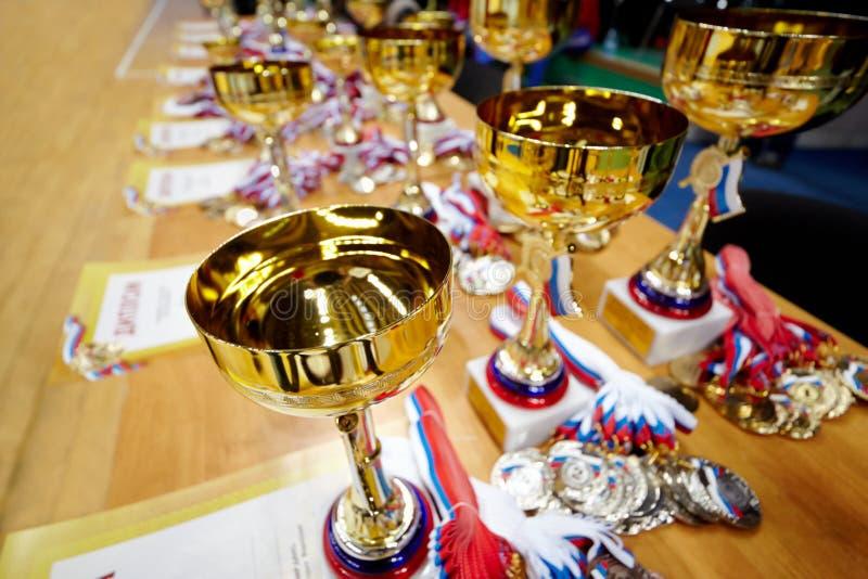 Många tilldelar diplom, koppar, medaljer royaltyfria bilder