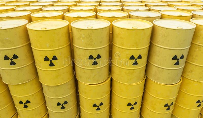 Många trummor för radioaktiv avfalls Kärn- avfalls som dumpar begrepp framförd illustration 3d stock illustrationer