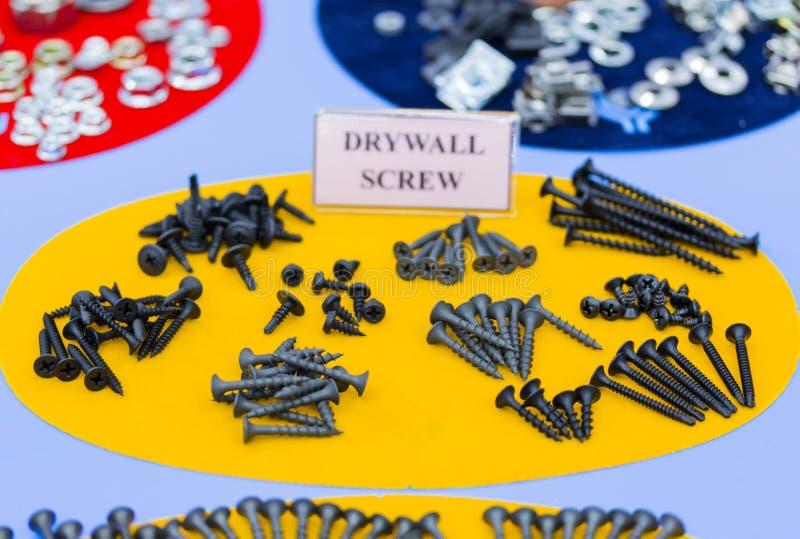 Många typ av metallskruven för läxa eller industriellt arkivfoto