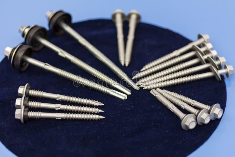 Många typ av metallskruven för läxa eller industriellt royaltyfri foto