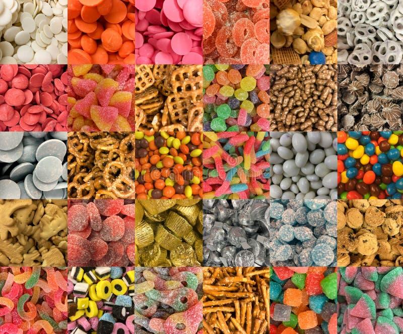 Många typer av sötsaker fotografering för bildbyråer