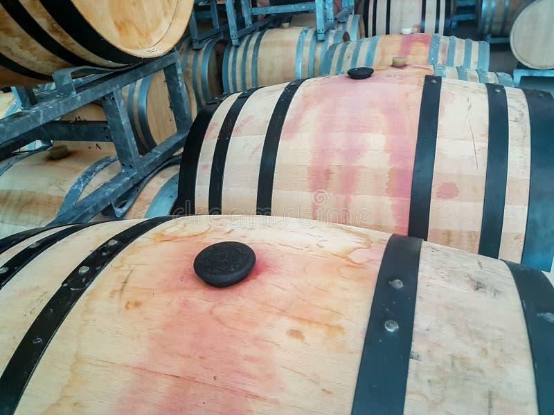 Många vinfat i en källare royaltyfri bild