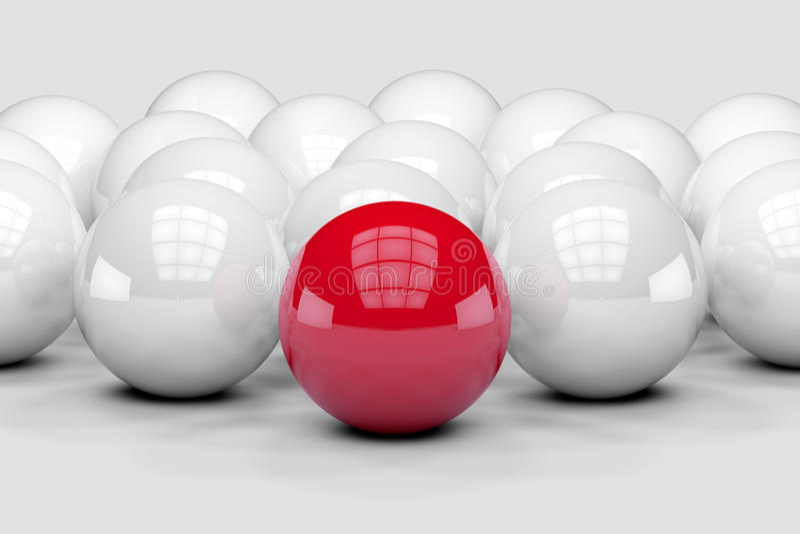 Många vitbollar som det rött står bland ut stock illustrationer