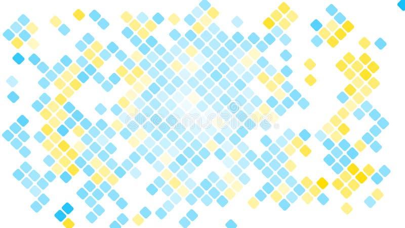 Mångfärgad abstrakt bakgrund av blåa fyrkanter, romber, rektangeltegelplattor, mosaik med sömmar av skinande glödande magisk ener stock illustrationer