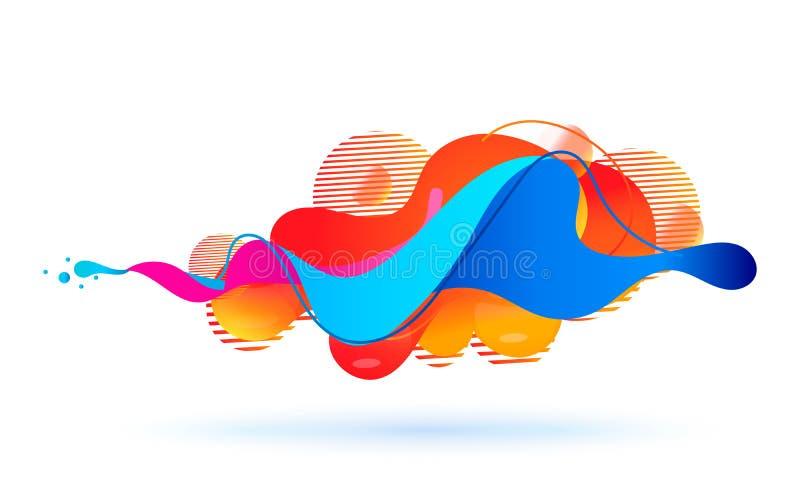 Mångfärgad abstrakt fluid solid våg också vektor för coreldrawillustration royaltyfri illustrationer