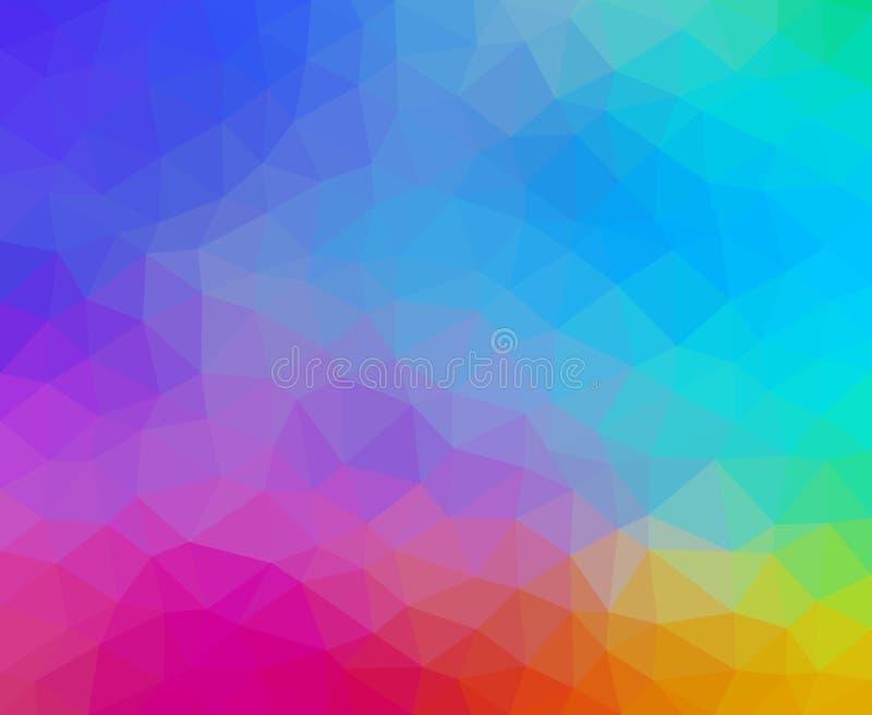 Mångfärgad abstrakt geometrisk bakgrund med triangulära polygoner royaltyfri illustrationer